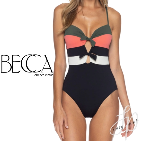 Women/'s Size S Becca By Rebecca Virtue Circuit Colorblock One-Piece Swimsuit